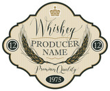 Vector label for whiskey in the figured frame with crown, ears of barley and handwritten inscription on striped background in retro style - 196629853