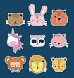 Icon set of cute animals over blue background, colorful design. vector illustration
