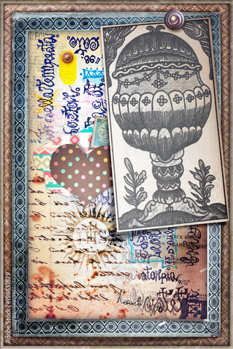 Foto op Aluminium Imagination Sfondo con disegni esoterici,tarocchi,manoscritti e asso di coppe