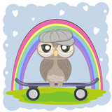Cute Cartoon Owl in cap with skateboard on a rainbow background.
