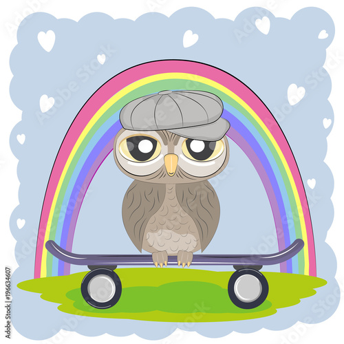 Tuinposter Uilen cartoon Cute Cartoon Owl in cap with skateboard on a rainbow background.