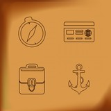 compass , credit card, anchor and briefcase line icons