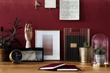 Gold workspace with red wall