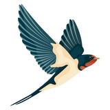 swallow in flight vector illustration style Flat - 196647465