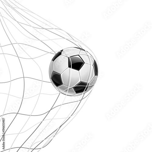 Foto op Aluminium Bol Soccer Ball in Net