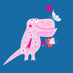 Bright postcard with a funny enamored dinosaur