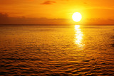 Sunset on caribbean beach.