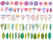 Vector floral set. Flower, blossom, leaf, herb isolated - 196660003