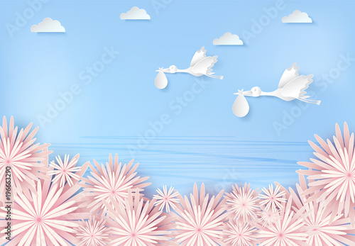 Paper art of stork flying with baby and flower blue sky paper cut style illustration
