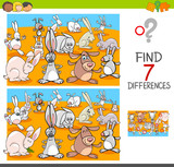 find differences with rabbits animal characters - 196663821
