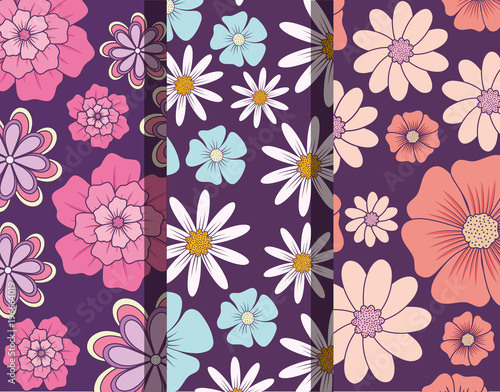 Pattern of beautiful and tropical flowers, colorful design vector illustration - 196664019