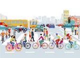 Stadt mit Straßenverkehr, Radfahrer und Fußgänger, Illustration - 196664896
