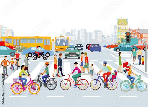 Poster Stadt mit Straßenverkehr, Radfahrer und Fußgänger, Illustration