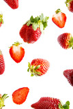red strawberries isolated on a white background - 196665456