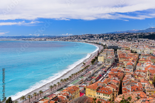 Foto Spatwand Nice Cote d'Azur, France. Beautiful panoramic aerial view city of Nice, France. Luxury resort of French riviera. Front view of the Mediterranean sea, bay of Angels