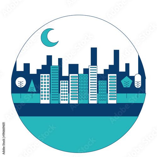 landscape city buildings urban panorama with trees round design vector illustration blue and green image