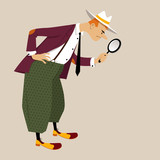 Cartoon man dressed in retro fashion with a magnifying glass, searching or examining something, EPS 8 vector illustration  - 196679821