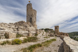 Ancient ruins castle tower and church, medieval village of Guimera, Province Lleida, Catalonia, Spain.