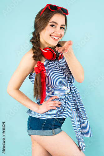 Young sexy woman with headphones - 196681093