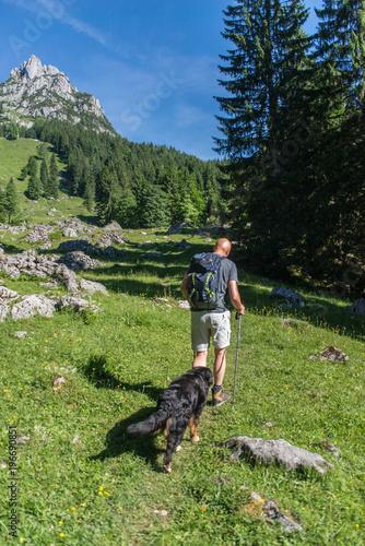 Tuinposter Weg in bos Alm Wanderung