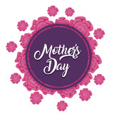Mothers day design with beautiful flowers around decorative circular frame over white background, colorful design. vector illustration - 196695866