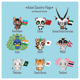 Asian country flags and national animals