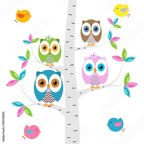 Tuinposter Uilen cartoon Сolorful owls on the tree with butterflies on a white background