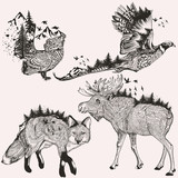 Artistic collection of hand drawn animals