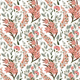 Vector floral seamless pattern with colorful summer plants and flowers. Pastel pink