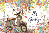 Beautiful spring vector illustration with flowers and bike - 196710039