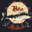 Fishing in Montana hand drawn poster with fish
