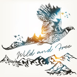 Illustration with wild forest bird and mountains, art background