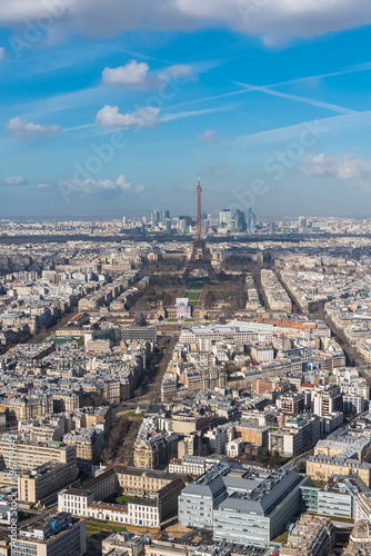 Paris, panorama of the Eiffel tower and la Defense in background, view from the Poster