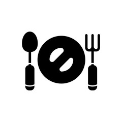 plate fork spoon filled vector icon