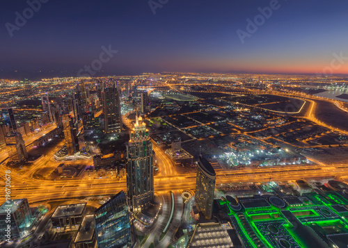 Foto op Plexiglas Dubai Panorama of Dubai cityscape from above at sunrise