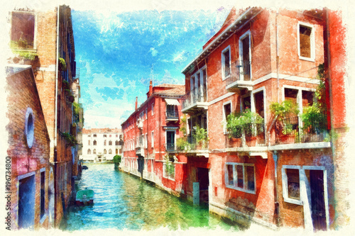 Fototapeta Colorful facades of old medieval houses in Venice, Italy, watercolor painting