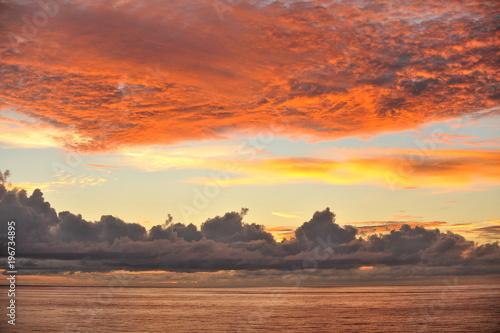 Plexiglas Baksteen The Seychelles. Sunset in the Indian Ocean