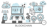 Block chain vector background illustration with notebook and icons. - 196746653