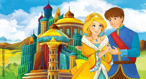 cartoon scene with young prince and princess near medieval beautiful castle - illustration for children - 196751248