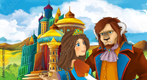 cartoon scene with young prince and princess near medieval beautiful castle - illustration for children - 196751284
