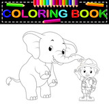 Zookeeper and elephant coloring book