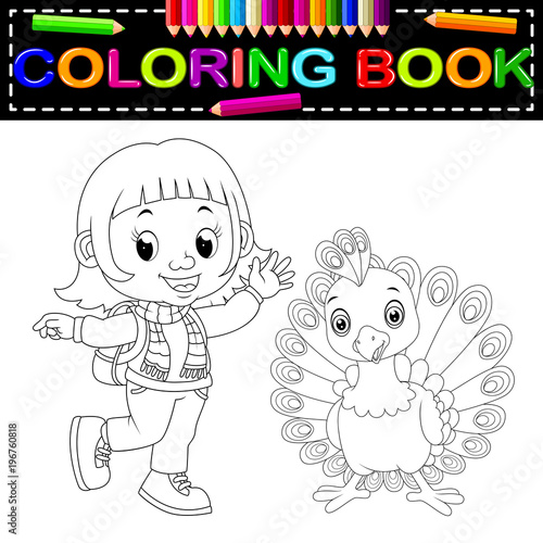 Plexiglas Zoo cute girl and peacock coloring book