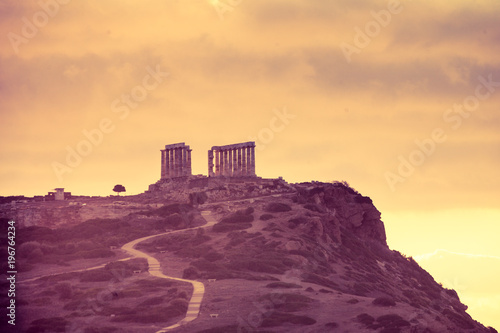 Plexiglas Crimson Greek temple of Poseidon at sunrise, Cape Sounio