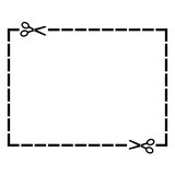 Cut out coupon rectangle shape with scissors. Vector illustration - 196765613