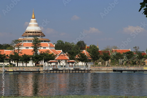 Plexiglas Thailand Close up beautiful building beside the river