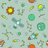 Cosmos. Seamless pattern in doodle and cartoon style. Color. Vector. EPS 8