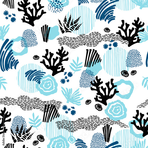 Materiał do szycia Vector sea seamless pattern with hand drawn textures.