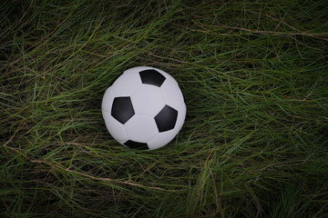 Top views of soccer ball on green grass of soccer field pattern background and texture.