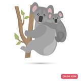 Coala and cub color flat icon