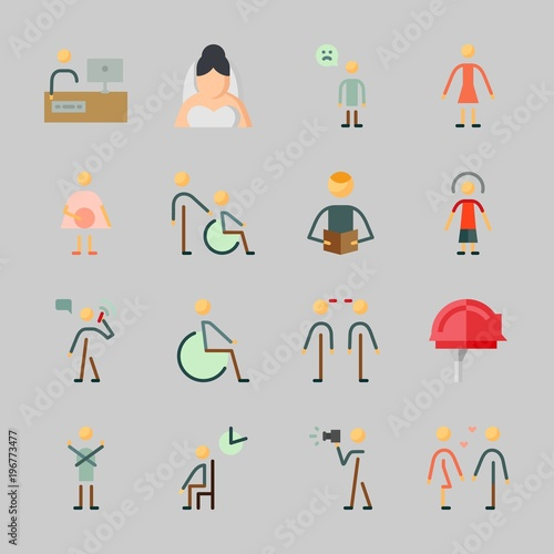 Icons about Human with female, boyfriend , male, man, pregnant and
